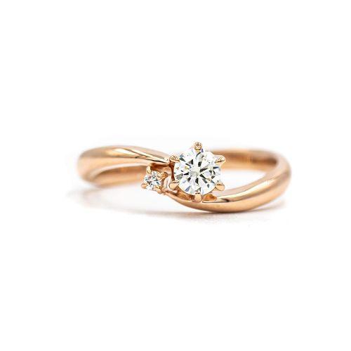 0.25ct Diamond Ring in Pink gold Heart & Arrow VS Class Certificate