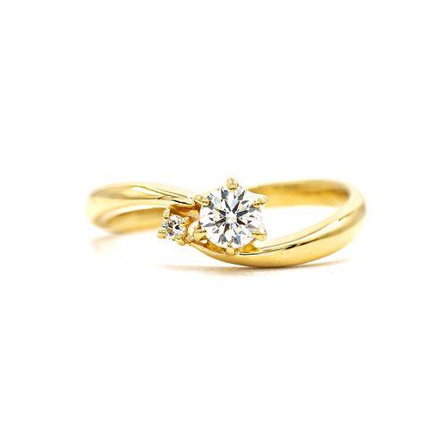 0.25ct Diamond Ring Heart & Arrow VS Class Certificate in Yellow gold