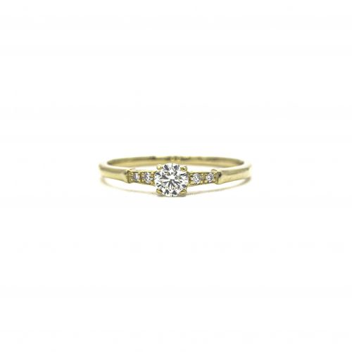 Certified Diamond Ring 0.24ct Heart and Cupid in Yellow Gold K18