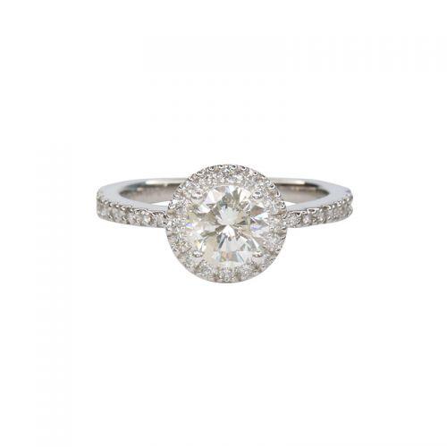 1ct Total Diamond Halo Setting Ring in Platinum